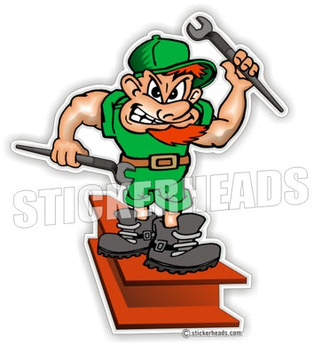Irish Guy on I-Beam With Spuds  -  Ironworker Ironworkers Iron Worker Sticker