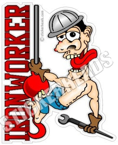Cartoon Guy hanging on Ball & Hook -  Ironworker Ironworkers Iron Worker Sticker
