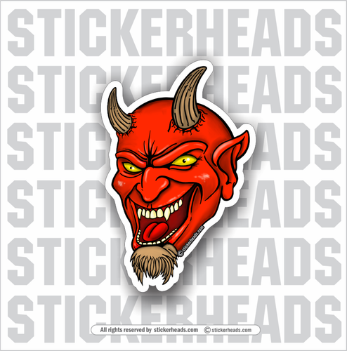 Laughing Devil Head  -  Funny Work Sticker