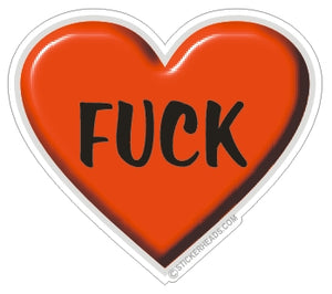 Fuck Love - Red Heart  - Funny Sticker