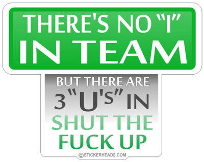 There's No I in TEAM ( GREEN )  - Funny Sticker