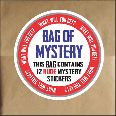 Bag Of Mystery Stickers - Funny Sticker Pack of 12 RUDE Stickers