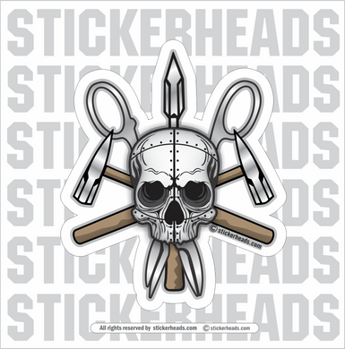 Metal SKULL With Tools   - Sheet Metal Workers Sticker