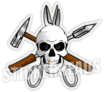 Sheet Skull ( no Text ) - Sheet Metal Workers Sticker