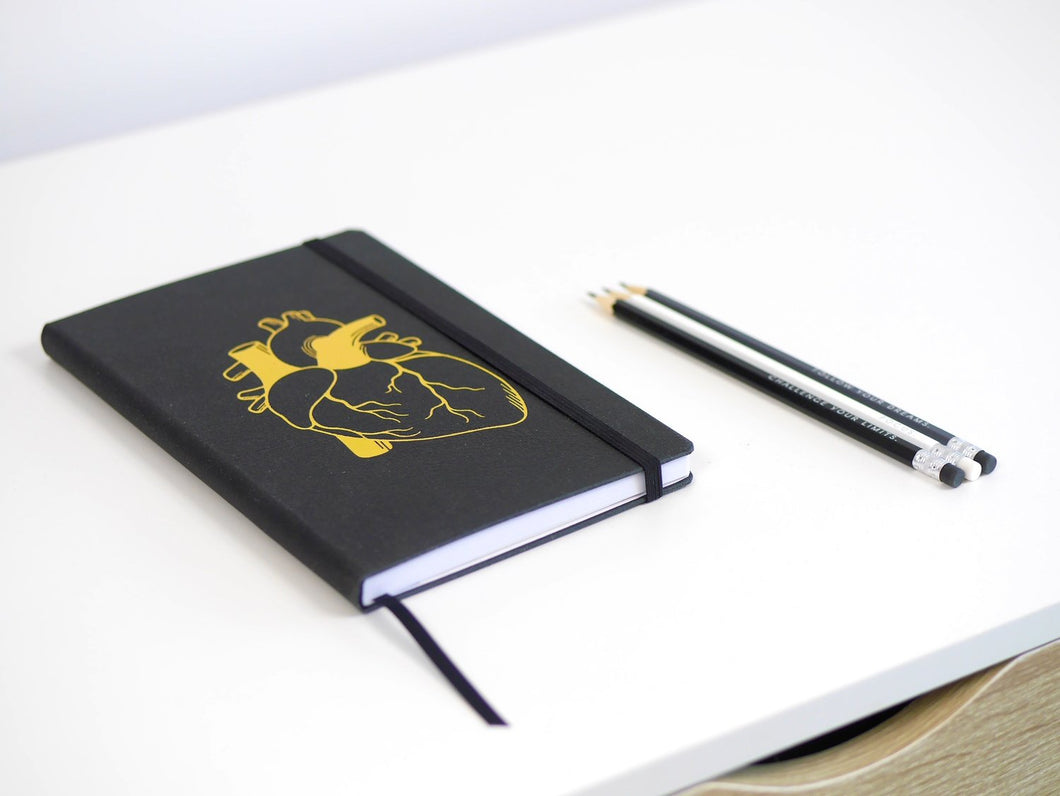 Anatomical Gold Heart: Recycled A5 Leather Notebook