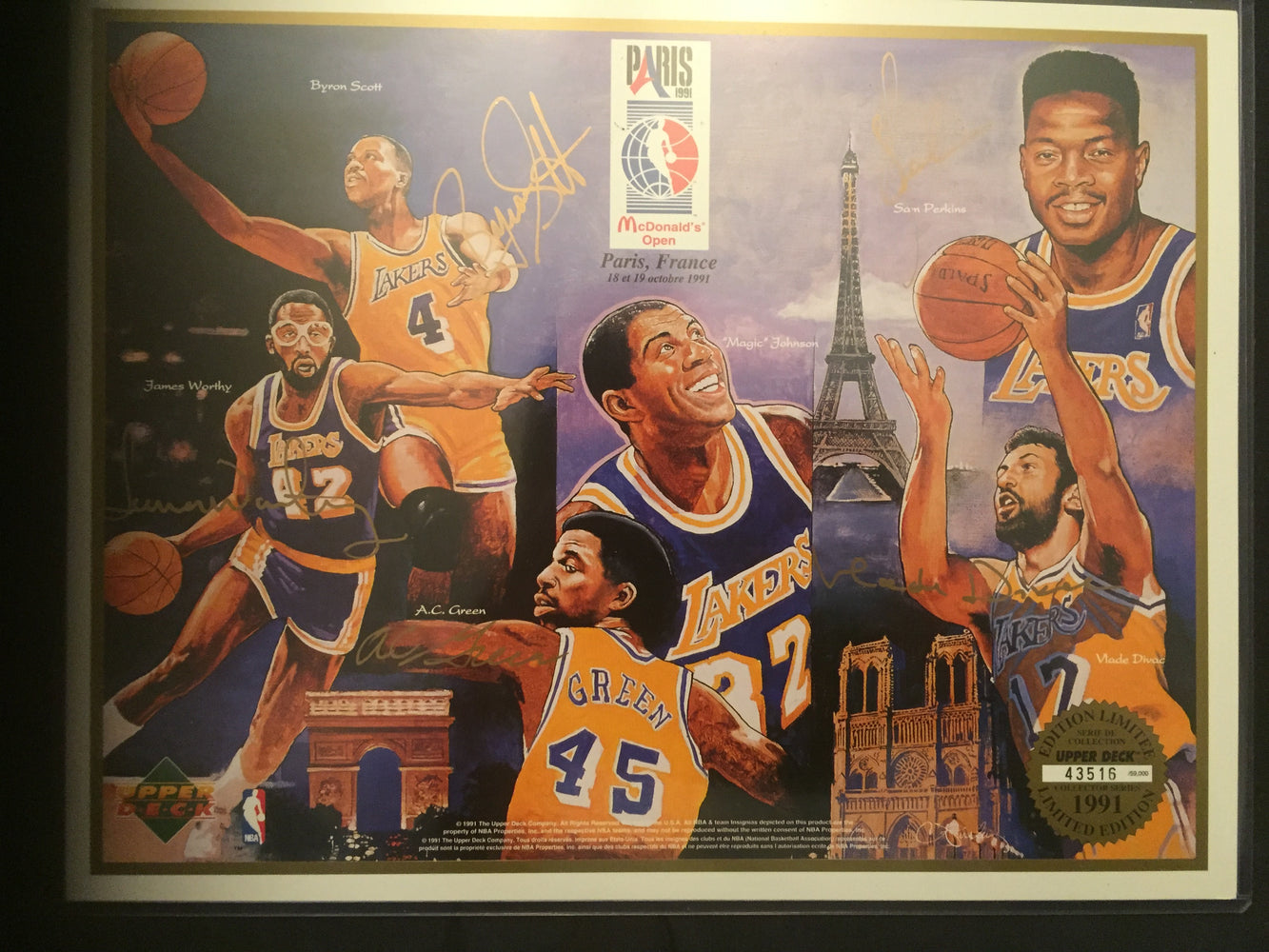 12 Days of Christmas Deal - Rare Autographed Los Angeles Lakers Upper Deck (UDA) Autographed 8 x 10! Signed By 5 Lakers Legends!