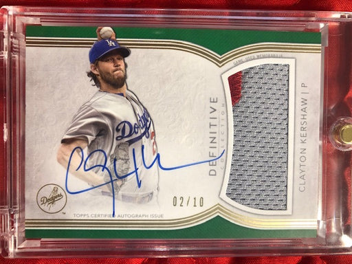 2018 Topps Definitive Clayton Kershaw Auto/Jumbo Patch /10 - GREEN