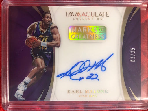 2017 Panini Immaculate Marks of Greatness Karl Malone Auto /25!