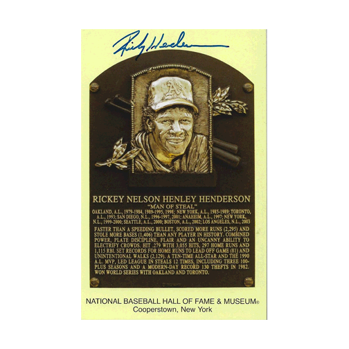 12 Days of Christmas Deal - Rare Rickey Henderson Autographed Hall of Fame Plaque Card JSA COA