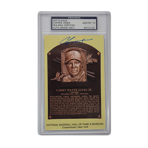 12 Days of Christmas Deal - Rare Autographed Chipper Jones Hall of Fame Plaque Card w/ Perfect 10 GEM MINT Signature! PSA/DNA!
