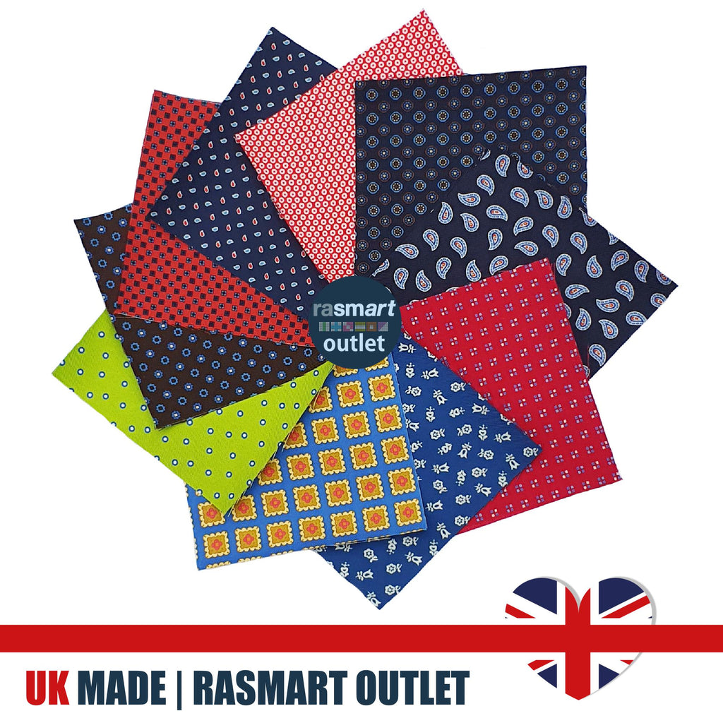 16 Patchwork Squares - Luxurious 100% Pure Silk - British Made