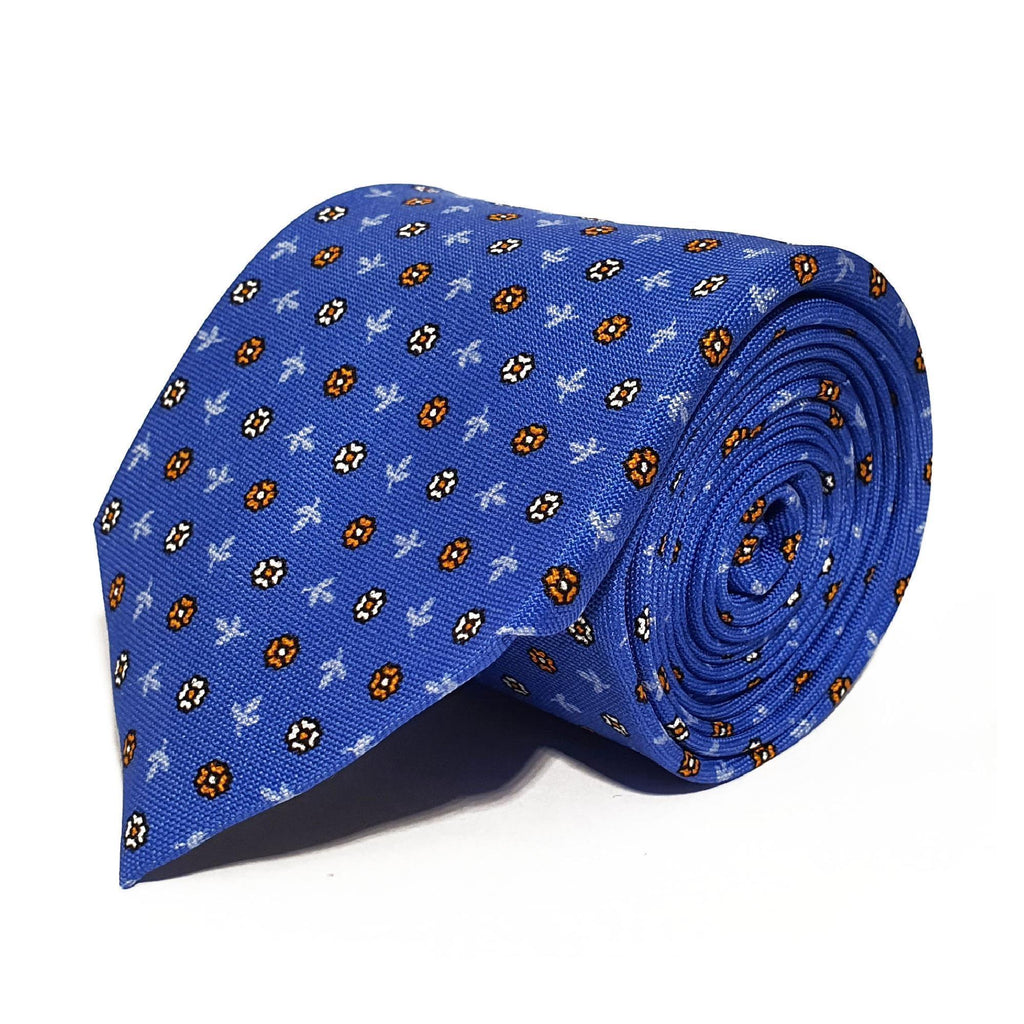 Blue Leaves & Flower Woven Silk Tie Hand Finished - British Made