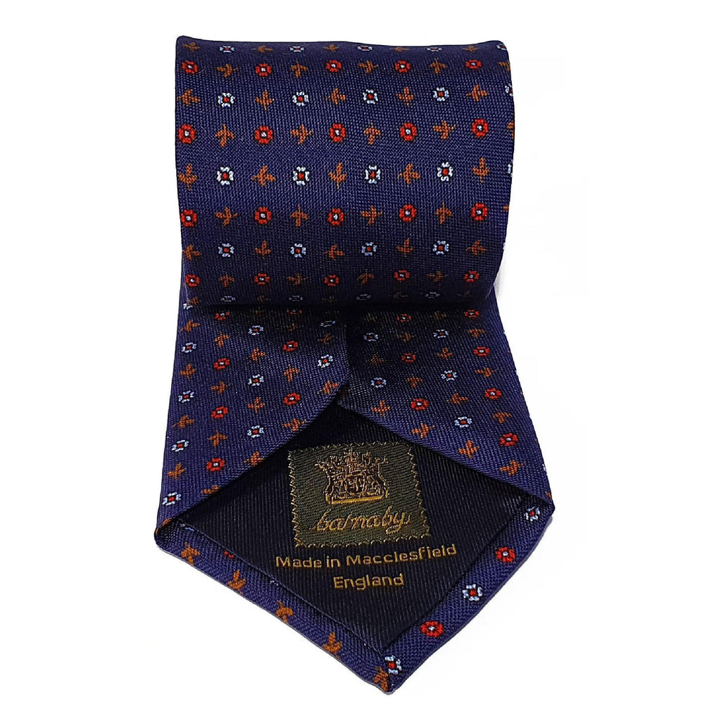 Blue Leaves Printed Silk Tie Hand Finished - British Made