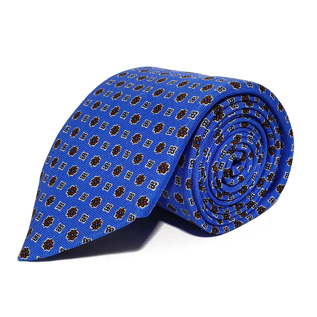 Blue Neats Printed Silk Tie Hand Finished - British Made