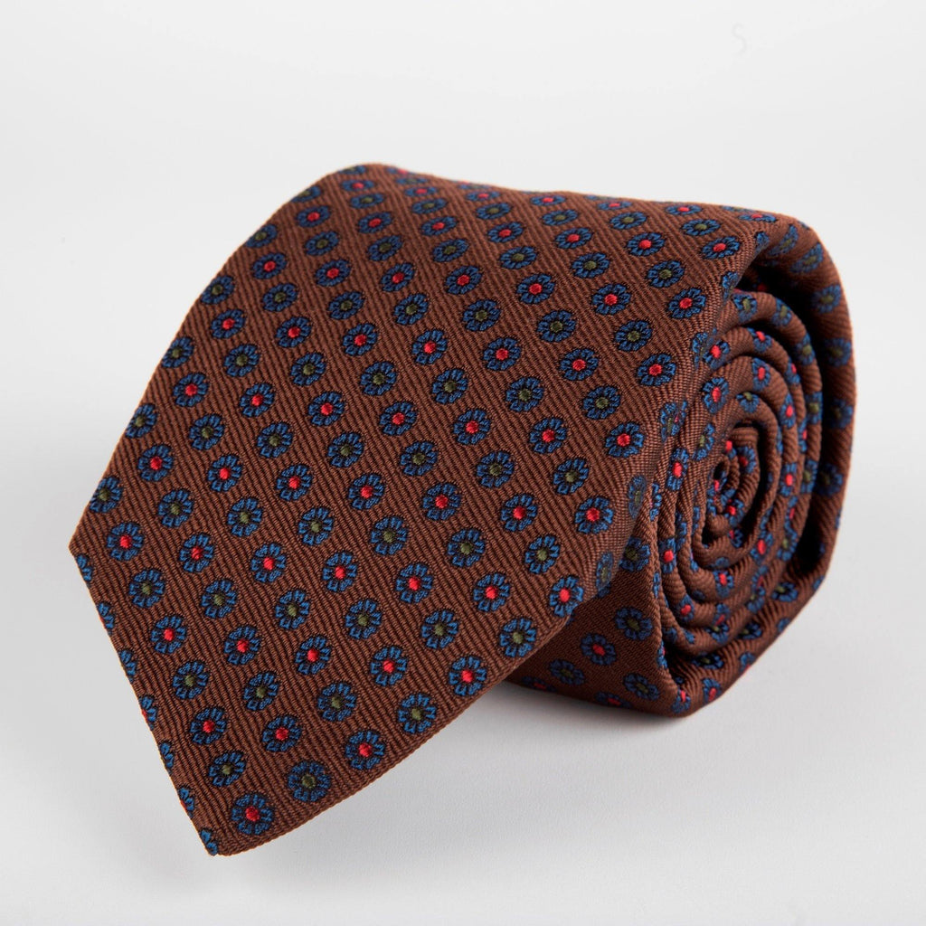 Brown Neat Flower Woven Silk Tie Hand Finished - British Made