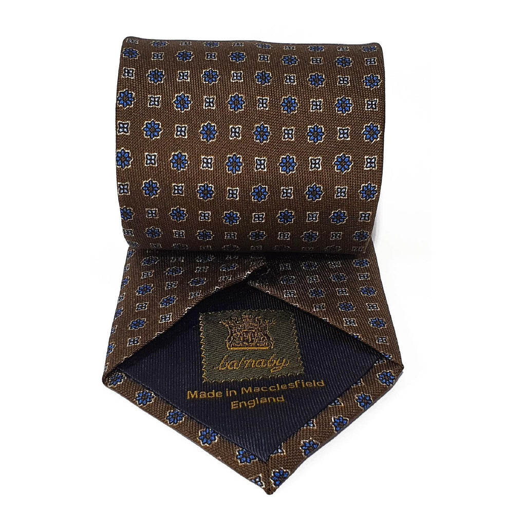 Brown Neats Printed Silk Tie Hand Finished - British Made