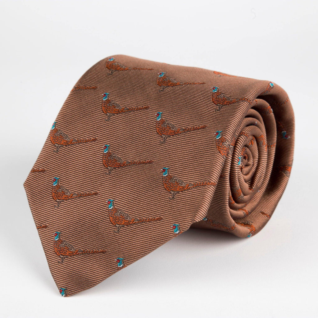 Brown Pheasant Woven Silk Tie Hand Finished - British Made