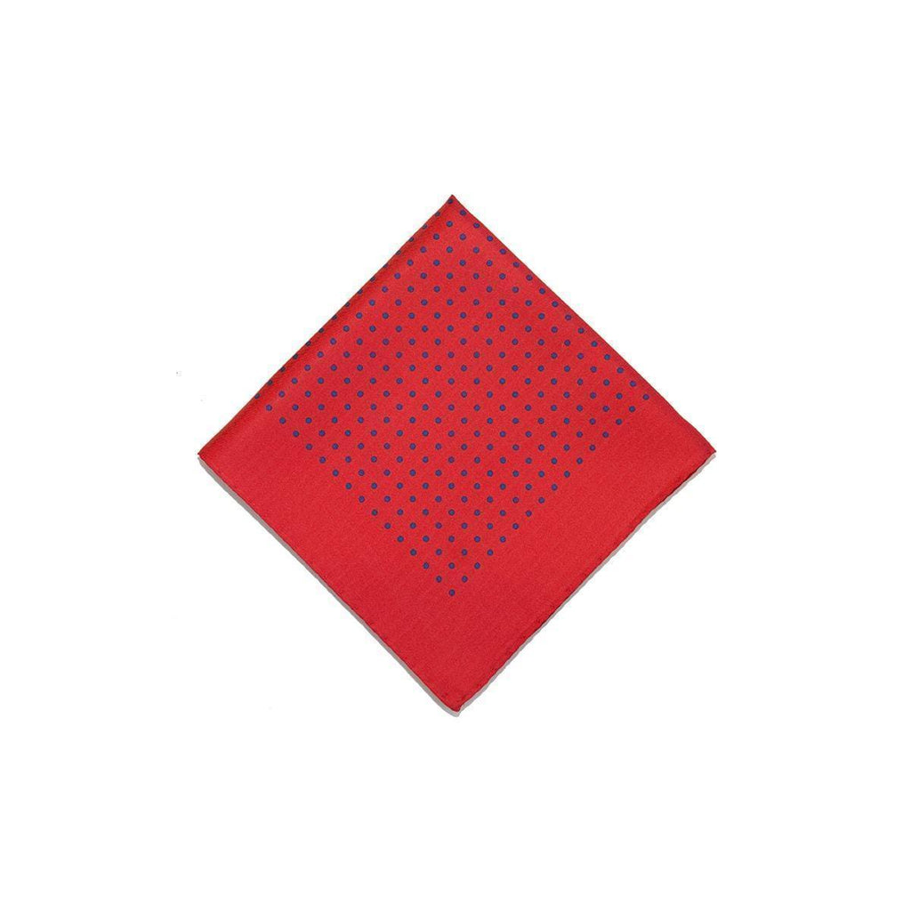 Bt Red Blue Classic Spot Print Silk Pocket Square - British Made