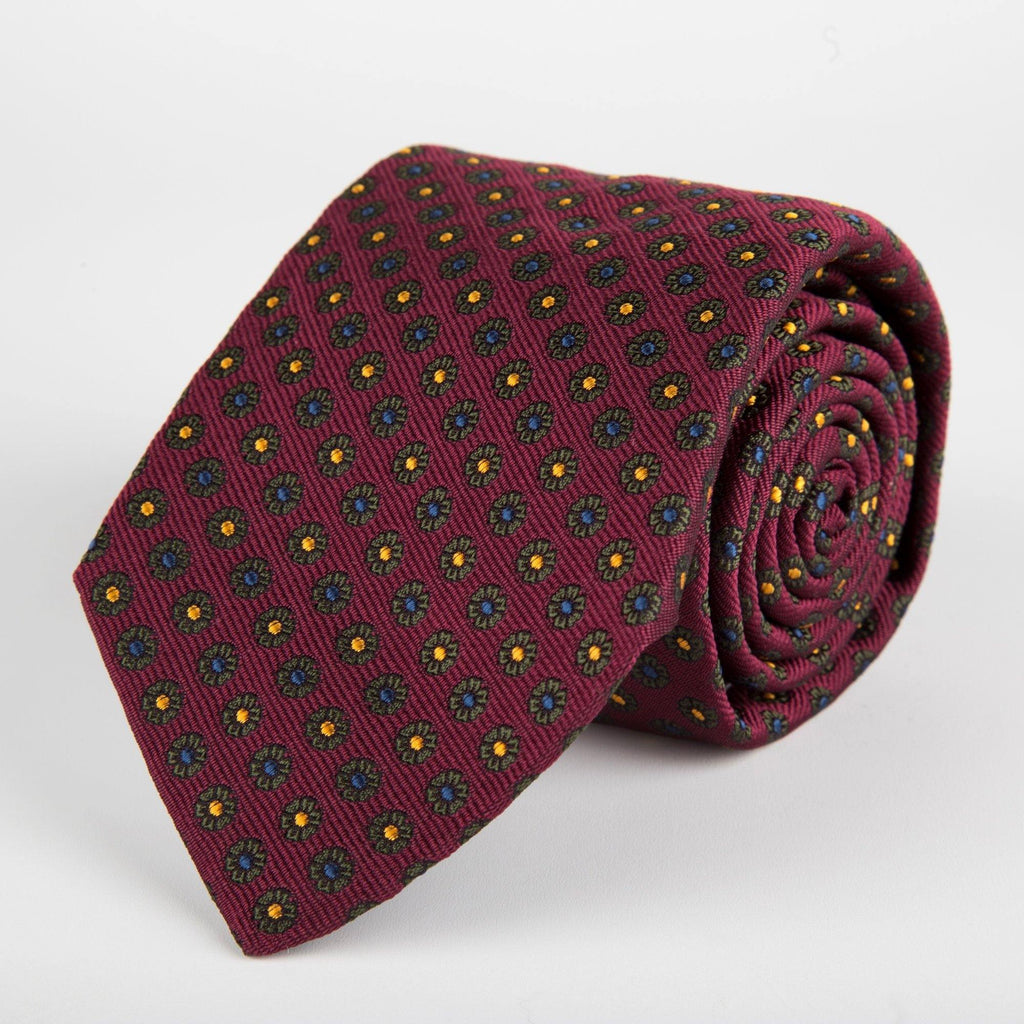 Burgundy Neat Flower Woven Silk Tie Hand Finished - British Made