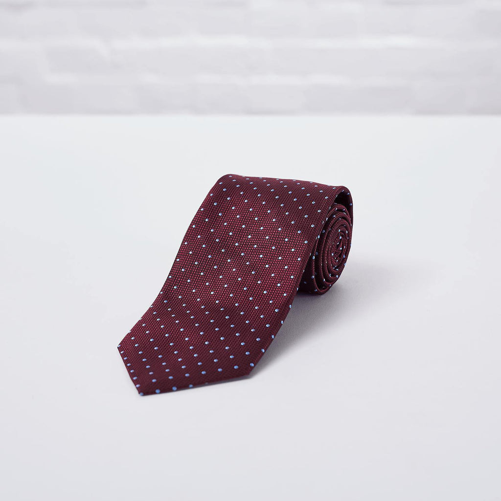 Burgundy Spot Woven Silk Tie Hand Finished - British Made