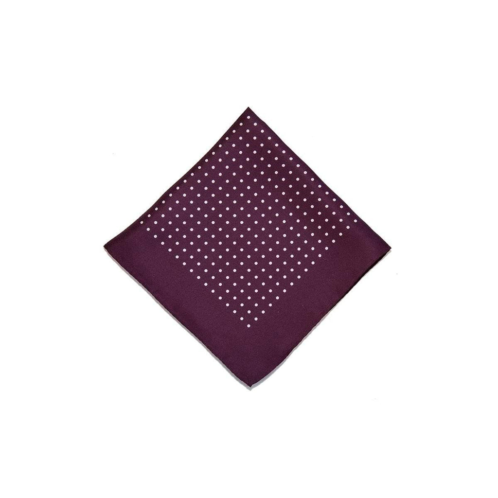 Burgundy White Classic Spot Print Silk Pocket Square - British Made