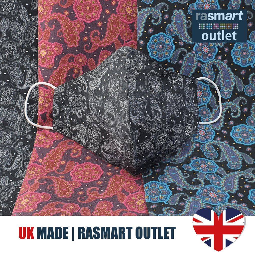 Face Mask - Black & Blue Paisley Design - 100% Pure Cotton - British Made