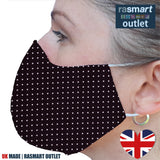 Face Mask - Brown & White Spots Design - 100% Pure Cotton - British Made