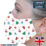 Face Mask - Christmas Festive Fun Design - 100% Pure Cotton - British Made