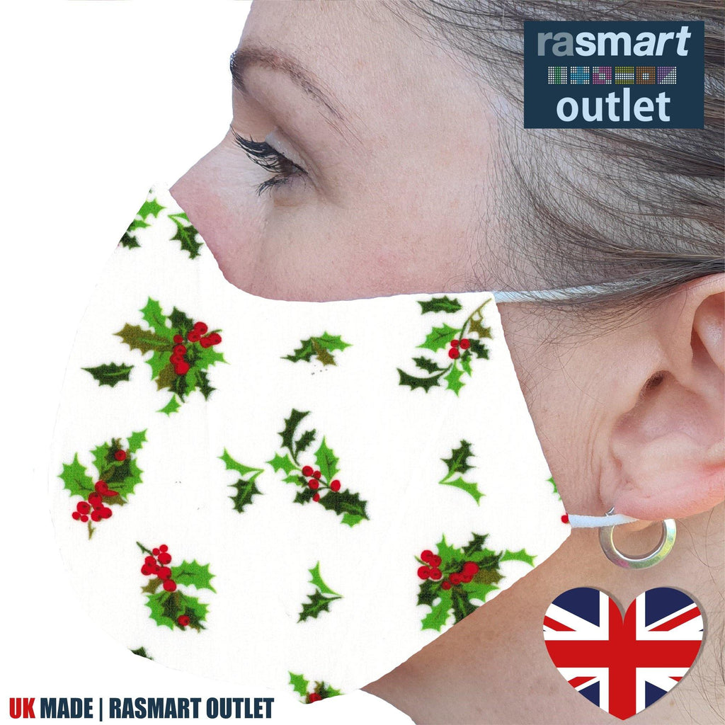 Face Mask - Christmas Holly Design - 100% Pure Cotton - British Made