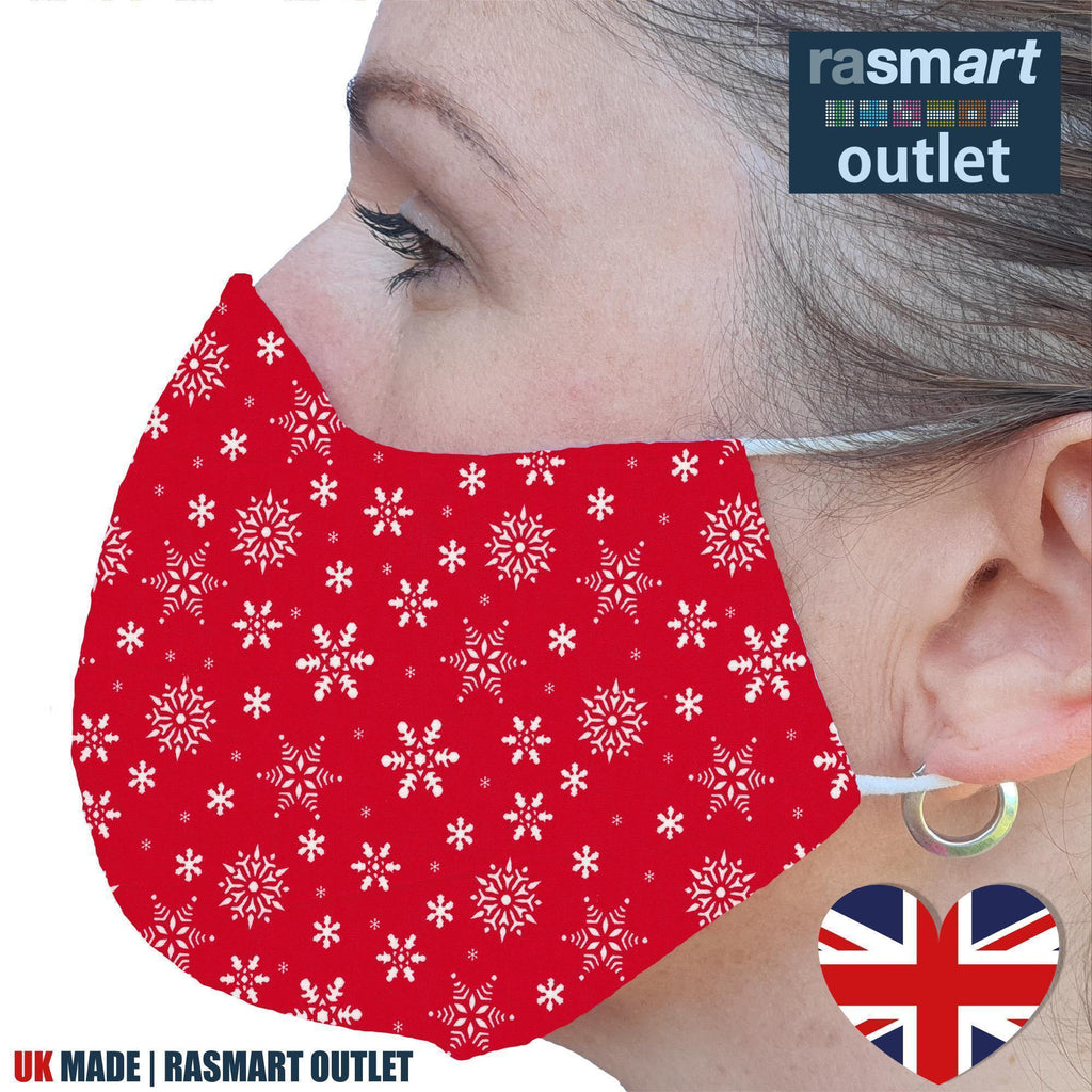 Face Mask - Christmas Snowflake Design - 100% Pure Cotton - British Made