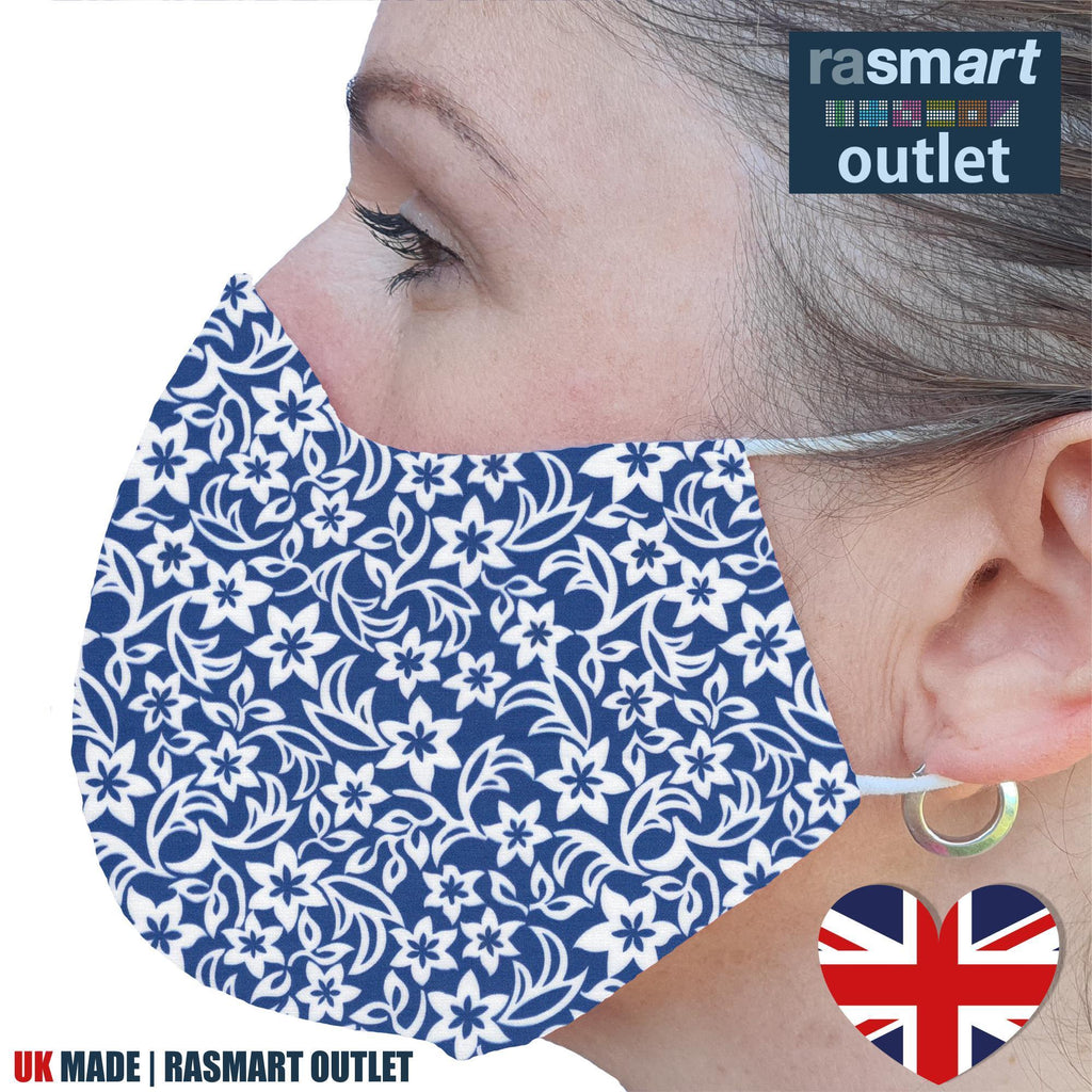Face Mask - Floral Blue Design - 100% Pure Cotton - British Made