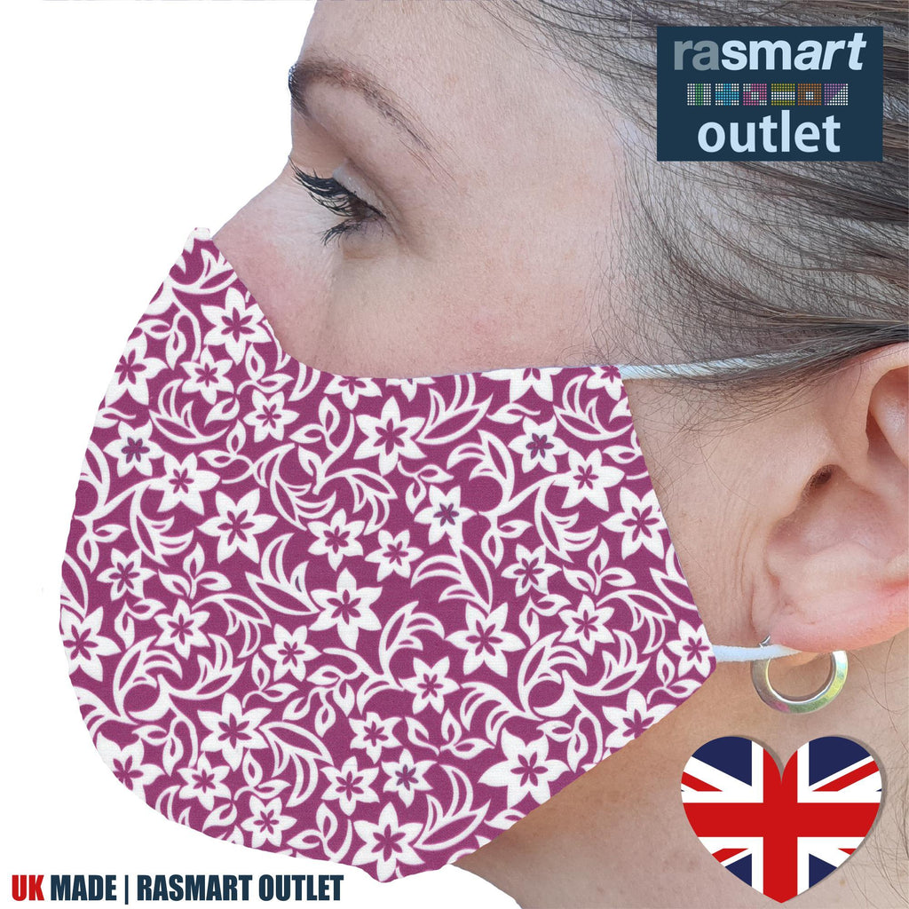 Face Mask - Floral Pink Design - 100% Pure Cotton - British Made