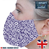 Face Mask - Floral Purple Design - 100% Pure Cotton - British Made