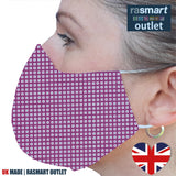 Face Mask - Fuschia Square Design - 100% Pure Cotton - British Made