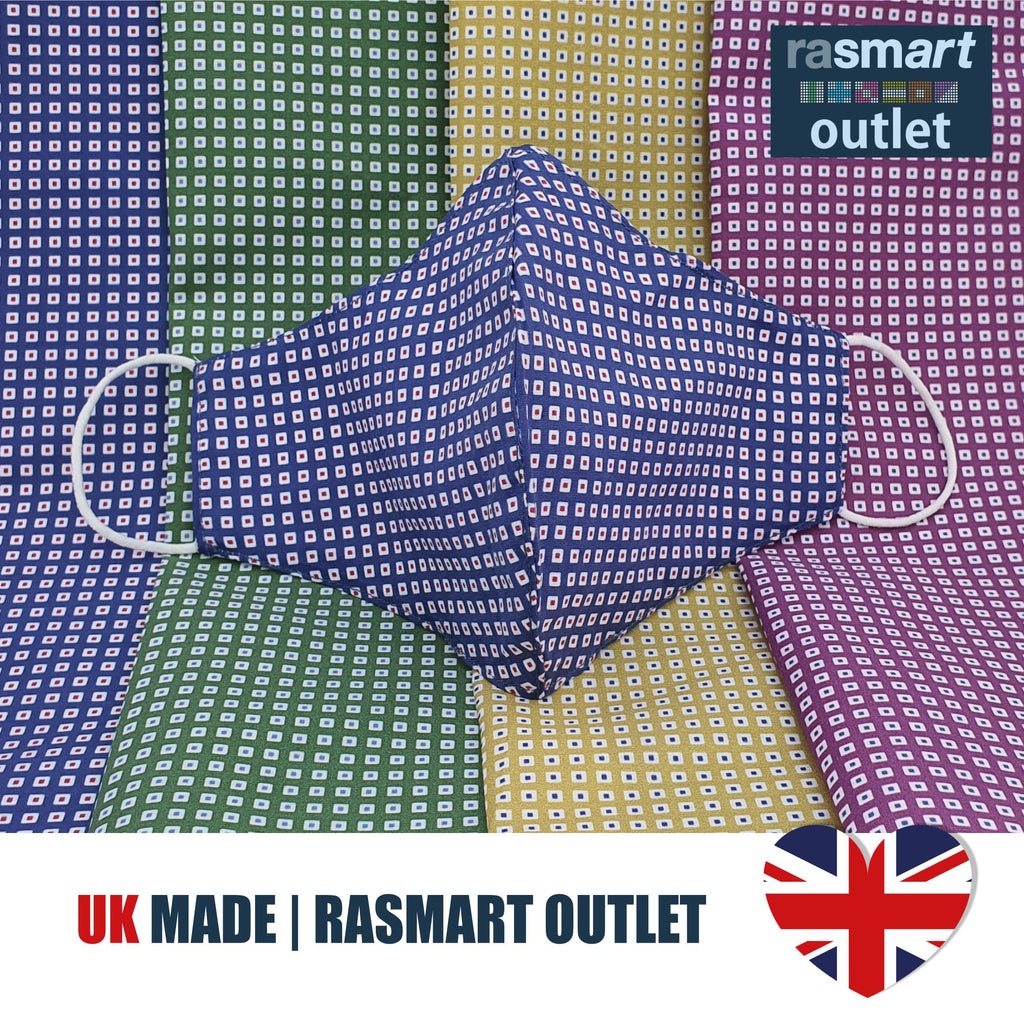 Face Mask - Green Square Design - 100% Pure Cotton - British Made