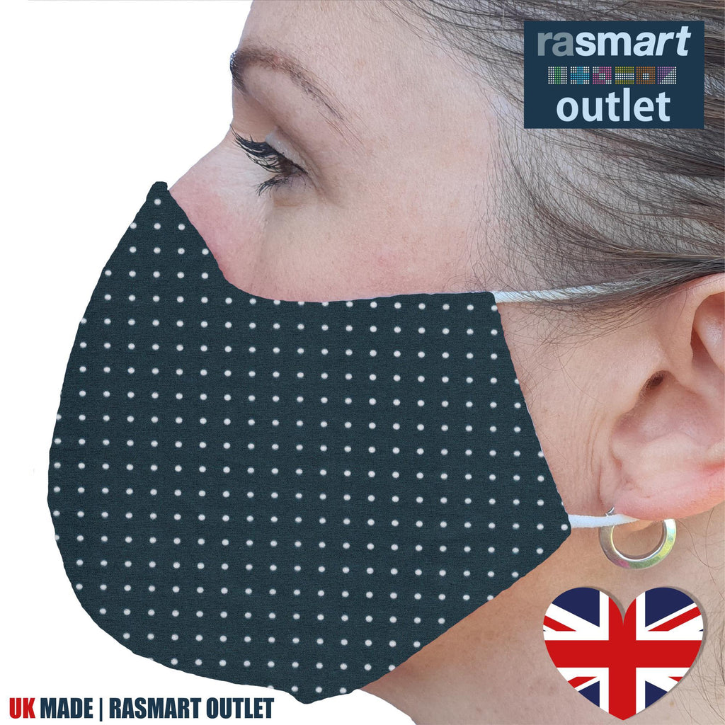 Face Mask - Grey & White Spots Design - 100% Pure Cotton - British Made