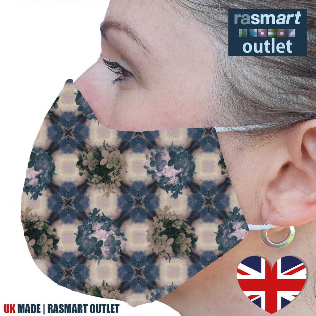 Face Mask - Mosaic Beige Design - 100% Pure Cotton - British Made