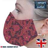 Face Mask - Pink Paisley Design - 100% Pure Cotton - British Made