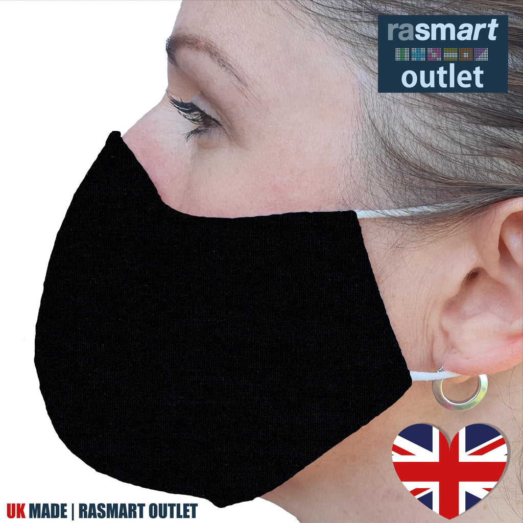 Face Mask - Plain Black Design - 100% Pure Cotton - British Made