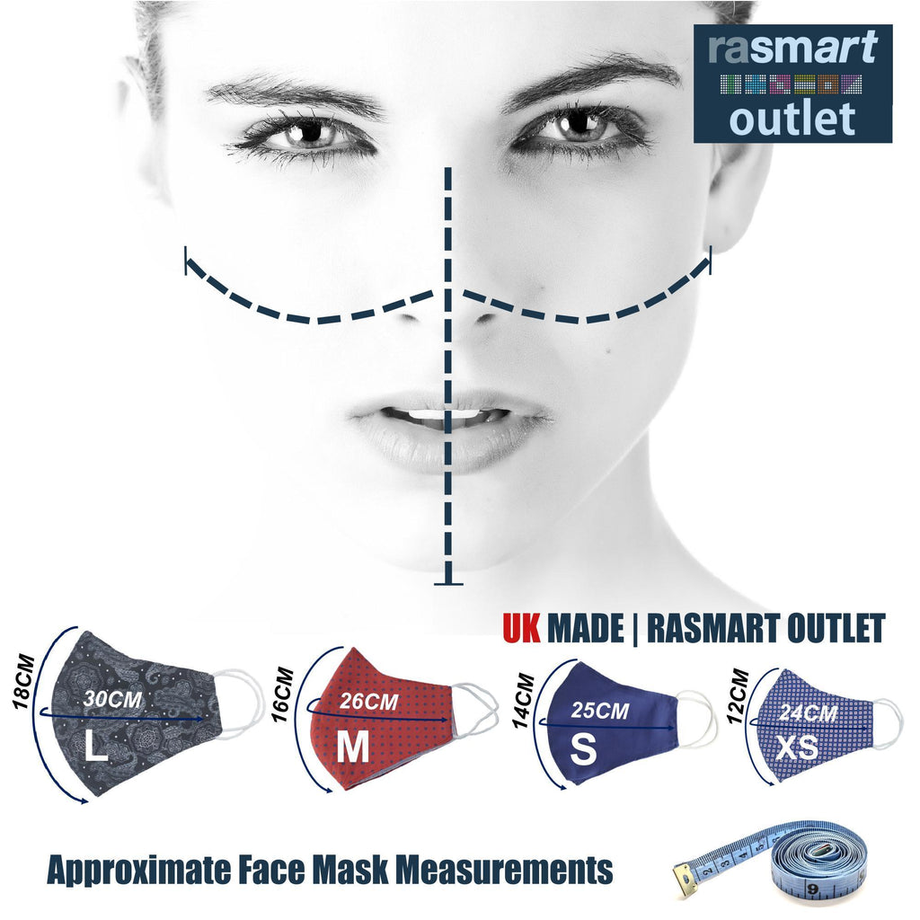 Face Mask - Plain Blue Design - 100% Pure Cotton - British Made