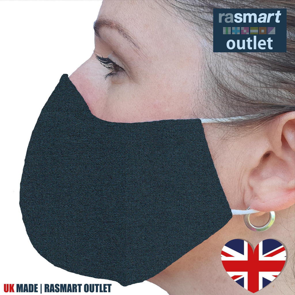 Face Mask - Plain Grey Design - 100% Pure Cotton - British Made