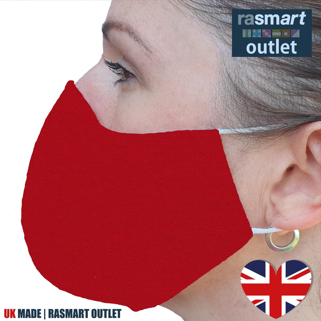 Face Mask - Plain Red Design - 100% Pure Cotton - British Made
