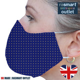 Face Mask - Purple & Yellow Spots Design - 100% Pure Cotton - British Made