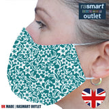 Face Mask - Turquoise Floral Design - 100% Pure Cotton - British Made