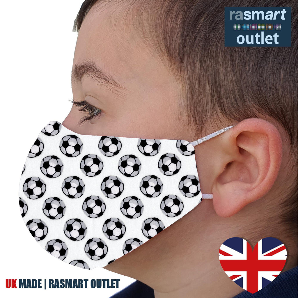 Face Mask - White Football Design - 100% Pure Cotton - British Made