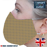 Face Mask - Yellow & Blue Spots Design - 100% Pure Cotton - British Made