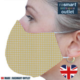 Face Mask - Yellow Square Design - 100% Pure Cotton