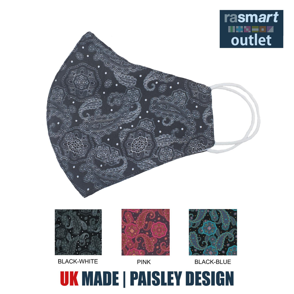 Face Masks - Paisley Design - 100% Pure Cotton - British Made