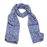 Floral Silk Scarve Blue Design - 100% Pure Silk Scarf - British Made