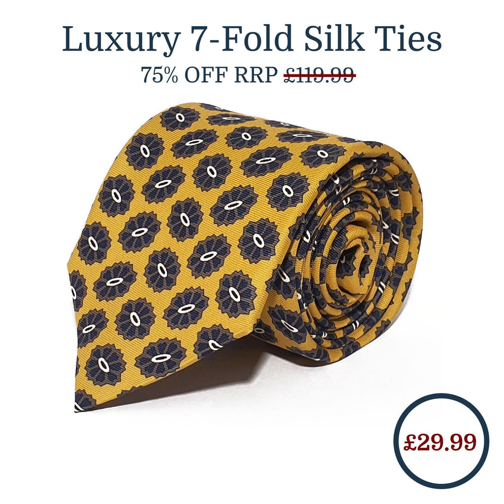 Gold Medallion Seven Fold Silk Tie - British Made